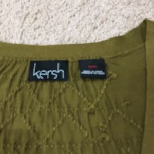 Kersh Sweaters - Army green buttonup sweater back embroidery detail